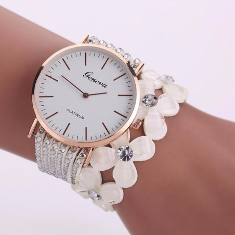 Beautiful Crystal Flowered Watch Bracelet In Various Colors