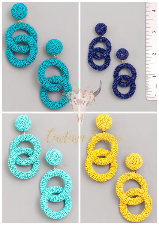 Carolina Beaded Hoop Dangles