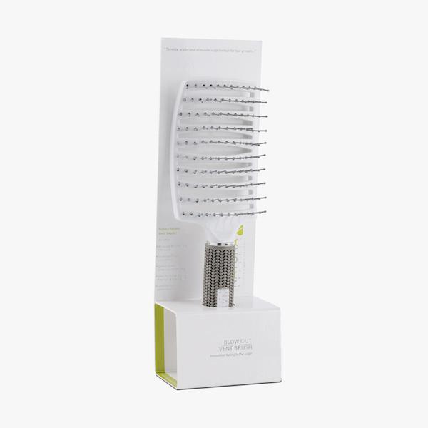 vented white hair brush box front view