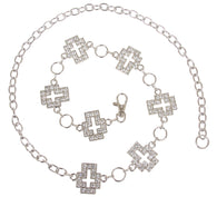 Womens Rhinestone Cross Ornaments Chain Belt