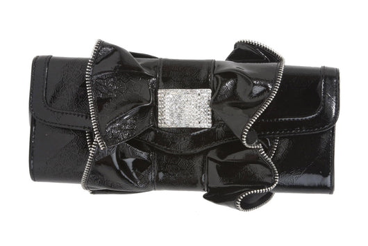 Zip Tooth Trimmed Ruffle Rhinestone Evening Bag