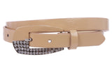 Woman's Rhinestone Patent Leather Skinny Belt