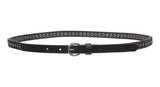 "Women's 5/8"" Skinny Faux Leather Belt with Stud and Linked Round Disk"