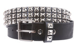 Snap On Three Row Punk Rock Star Metal Silver Studded Full Grain Cowhide Leather Belt