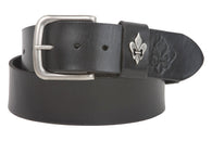 1 3/4 Inch Snap On Soft Hand Cowhide Full Grain Leather Fleur De Lis Casual Belt