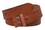 "Snap On 1 1/2"" Soft Hand Vintage Cowhide Full Grain Embossed Leather Belt Strap"