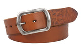 "Snap On 1 1/2"" Oval Soft Hand Vintage Cowhide Full Grain Embossed Leather Casual Belt"