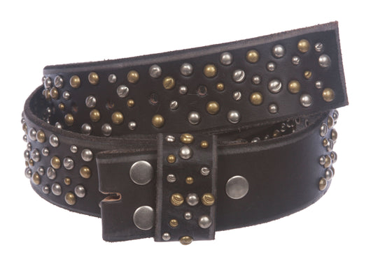 1 3/4 Inch Snap On Multi-rivet Studded Beveled Edged Full Grain Leather Belt Strap