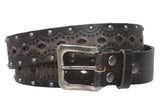 "1 1/2"" Snap on Perforated Studded Vintage Embossed Solid Leather Jean Belt"
