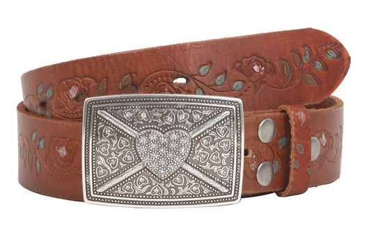 1 1/2 Inch Snap On Floral Tree Engraving Oil Tanned Vintage Full Grain Leather Rectangular Rhinestone Heart & Flower Belt