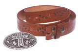 Snap On Floral Tree Embossed Full Grain Leather Rhinestone Cross Bling Belt