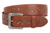 "1 1/2"" Snap On Floral Tree Engraving Oil Tanned Vintage Full Grain Leather Belt"