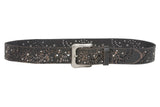 Snap On Soft Hand Vintage Cowhide Full Grain Leather Floral Rivet Perforated Casual Belt