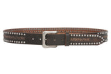 "Snap On 1 1/2"" Soft Hand Vintage Cowhide Full Grain Leather Rivet Studded Casual Belt"