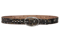 Snap on Beveled edged Vintage Top Grain Cowhide Studded Leather Belt