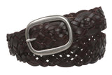 "1 1/2"" (37 mm) Women's Oval Braided Woven Leather Belt"