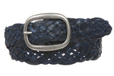 "1 1/2"" (37 mm) Womens Oval Braided Woven Leather Belt"
