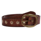"1 1/2"" (38 mm) Snap on Flower Embossed Vintage Leather Oval Jean Belt"