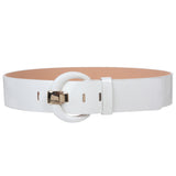 "Women's 2"" Wide High Waist Patent Leather Fashion Round Belt"