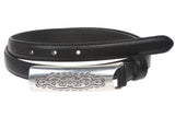 3/4 Inch (19mm) Embossed Rectangular Feather Edged Skinny Stitch Leather Belt