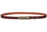 "3/4"" (19mm) Engraved Floral Rectangular Skinny Vintage Oil Tanned Solid Leather Casual Belt"