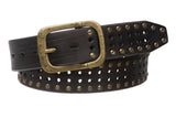 "1 1/2"" (38 mm) Snap on Vintage Cowhide Metal Circle Studded Leather Belt"
