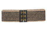 "3 1/2"" Two Tone Hemp Braided Elastic Stretch Belt"
