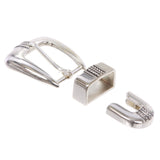 Men's Western 3-Piece Silver Tone Belt Buckle Set