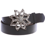 "1 1/2"" Women's Snap On Rhinestone Floral Fashion Belt Multi-Color Options"