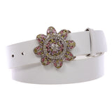 "1 1/2"" Women's Snap On Rhinestone Western Engraving Hollow Out Perforated Floral Flower Belt"