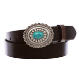 "1 1/4"" Snap On Western Engraving Distinctive Oval Turquoise Stone handmade Buckle With Cow High Full Top Grain Leather Plain Belt"