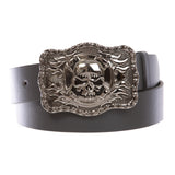 "1 1/2"" Snap On Western Rectangular Skull Flame Cross Buckle With Plain Belt"
