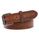 "1 1/2"" Snap On Vintage Stitching-Edged Distressed Embossed Skull & Cross Bones Leather Belt"