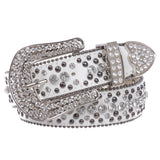 "1 1/2"" Women's Snap On Rhinestone and Gun Metal Color Circle Studded Leather Belt"