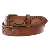 "1 1/4"" Snap On Embossed Floral Leaf Perforated Vintage Soft Cowhide Full Grain Thick Leather Casual Jean Belt"