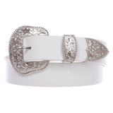 "1 1/2"" Women's Snap On White Belt With Perforated Engraved Crystal Rhinestone Western Floral Buckle Set"