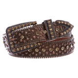 "1 1/2"" Snap On Western Cowgirl Brown Alligator Rhinestone Studded Leather Belt"