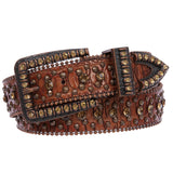 "1 1/2"" Snap On Western Cowgirl Brown Faux Alligator Rhinestone Studded Leather Belt"