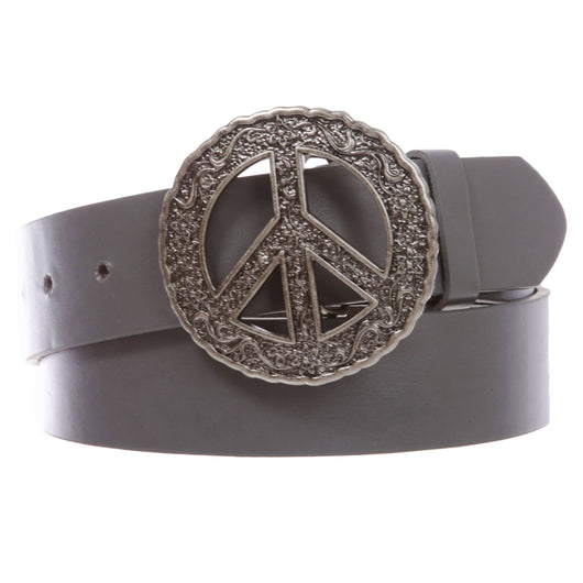 Snap On Peace Sign Concho Leather Belt Rainbow or Silver options