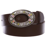 "1 1/2"" Women's Snap On Oval Rhinestone Western Engraving Hollow Out Perforated Floral Flower Buckle  Leather Belt"