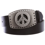 "1 1/2"" Snap On Rhinestone Peace Sign Hollow Out Buckle With Leather Belt"