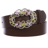 "1 1/2"" Women's Snap On Rhinestone Western Engraving Hollow Out Perforated Floral Flower Buckle  Leather Belt"