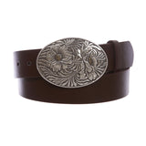 "1 1/2"" Snap On Oval Sunflower Engraving Buckle With Leather Belt"