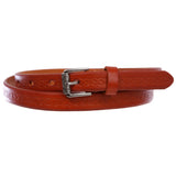 "Women's 3/4"" (17 mm) Full Grain Leather Embossed Skinny Beveled-Edge Belt"