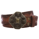 Western Embossed Vintage Cowhide Solid Leather Perforated Brass Casual Belt