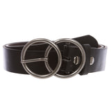 "1 1/2"" Snap On Round Double Circle Knot Buckle With Leather Belt"