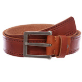 Men's Embossed Stitch-Hole Edged Vintage Cowhide Thick Leather Casual Jean Belt