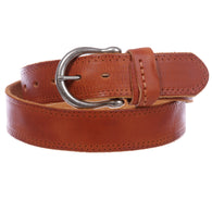 Men's Harness Stitch-Hole Edged Vintage Cowhide Thick Leather Casual Jean Belt