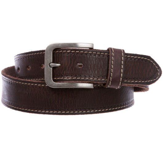 Men's Stitch Edged Vintage Cowhide Thick Leather Casual Jean Belt