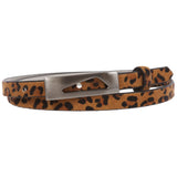 "Women's 1/2""(15mm) Women's Snap On Faux Leopard Animal Fur Skinny Non Leather Belt"